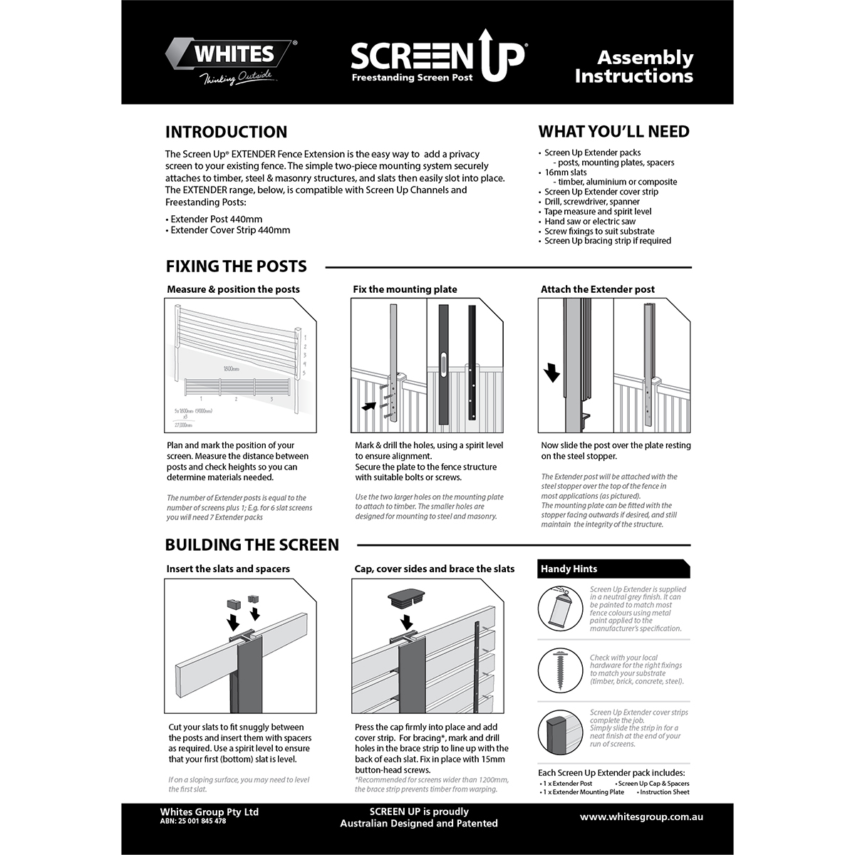 16907 Screen Up Extender instructions
