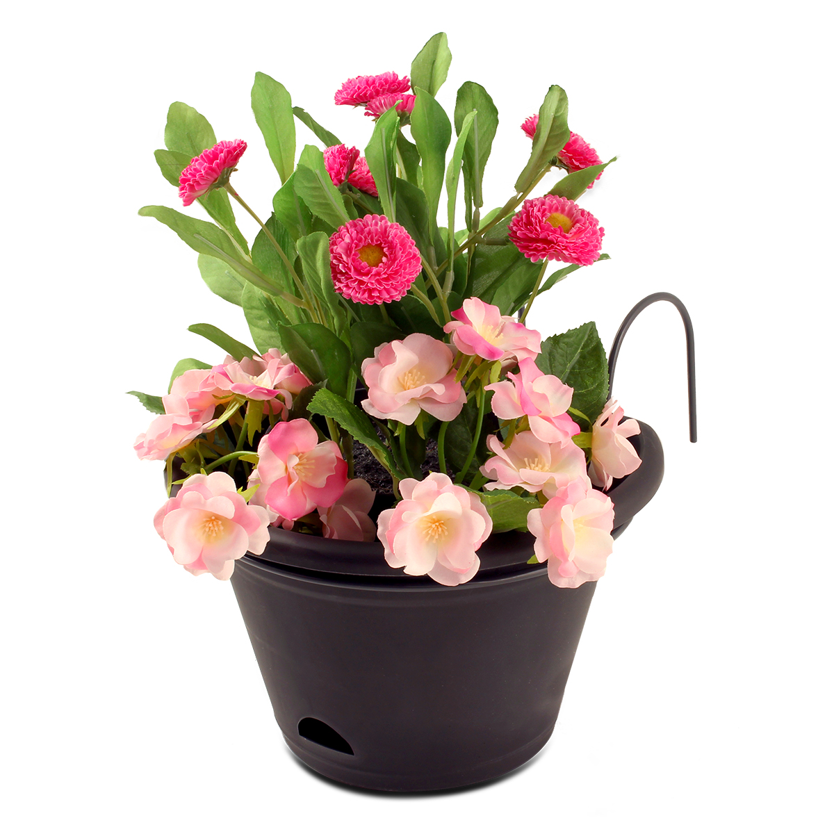 18424 Terrace Planter Charcoal with flowers