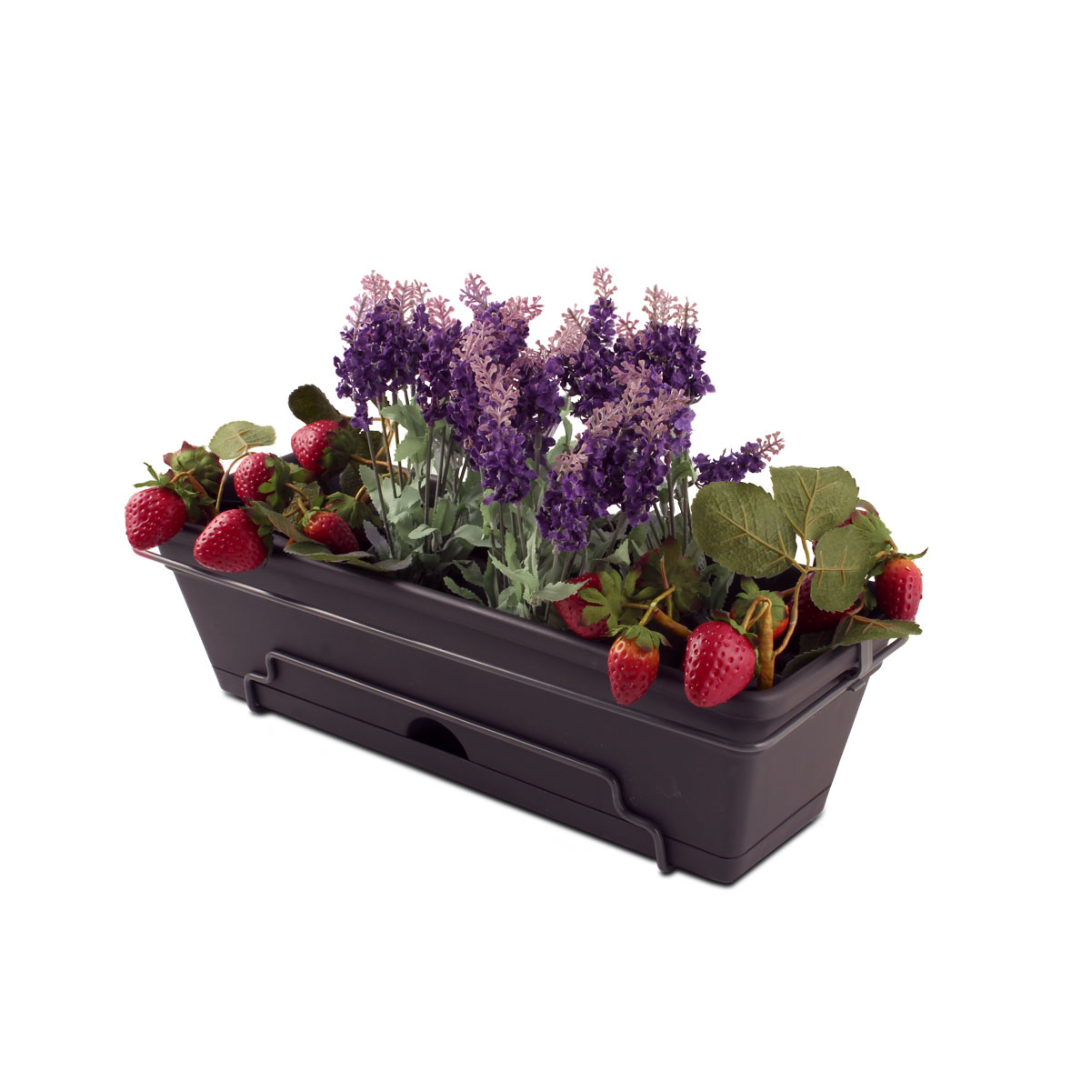 18427 Garden Up Classic Planter Charcoal with plants