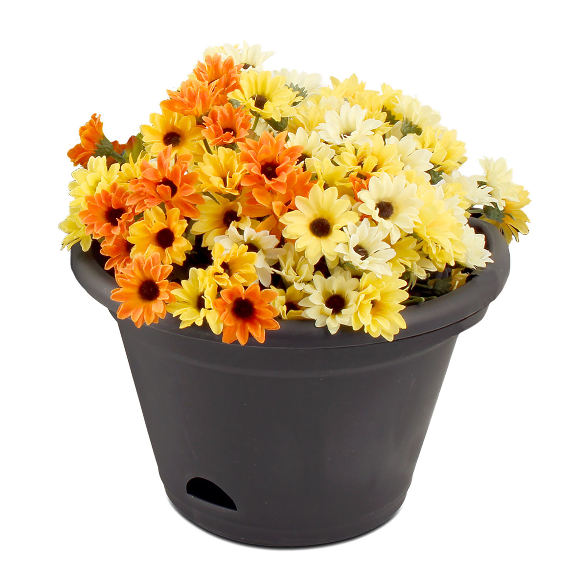 18441 Garden Up Terrace Pot Charcoal with flowers