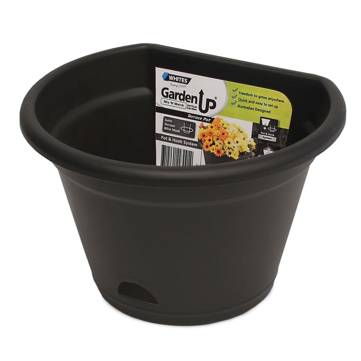 18441 Garden Up Terrace Pot Charcoal