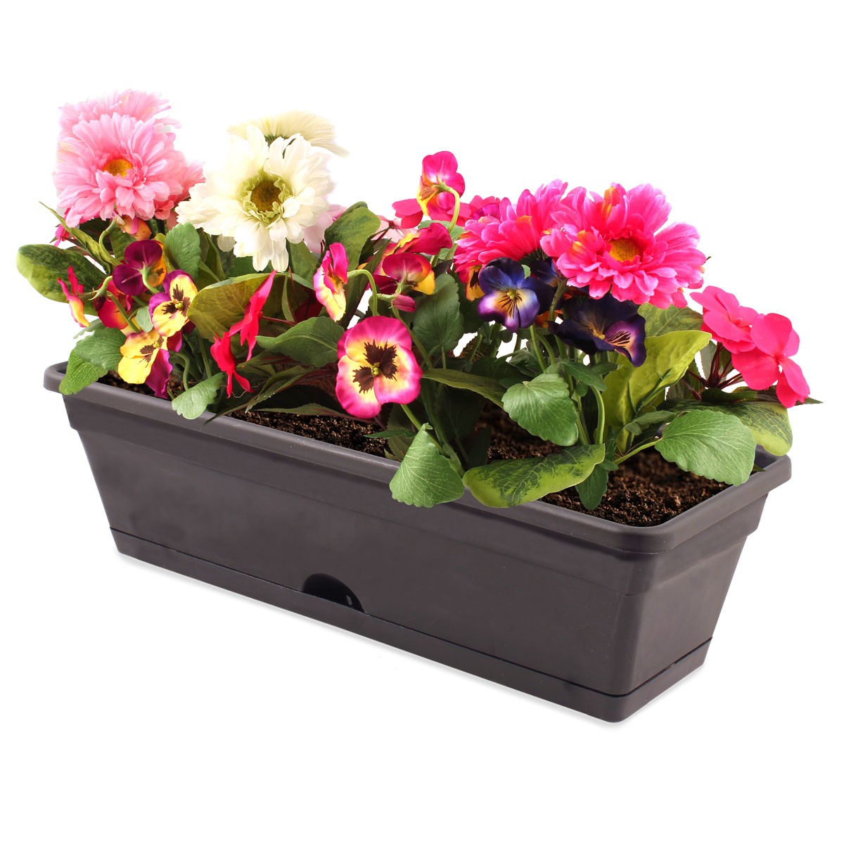 18442 Garden Up Classic Pot Charcoal with flowers