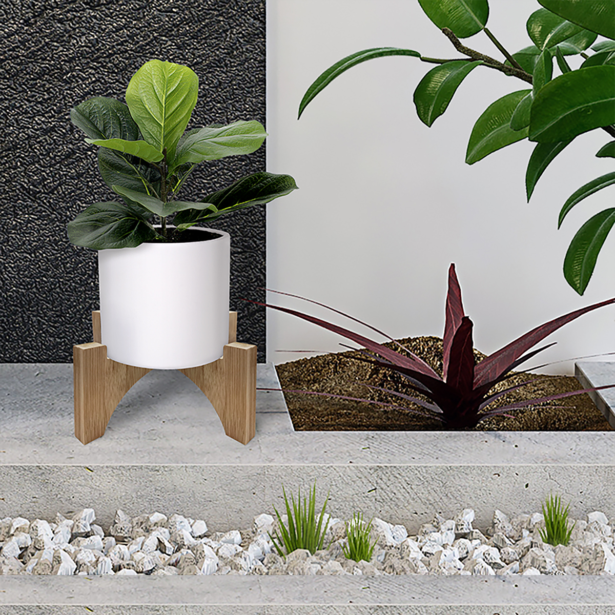 18518 Bamboo Plant Stand with pot plant