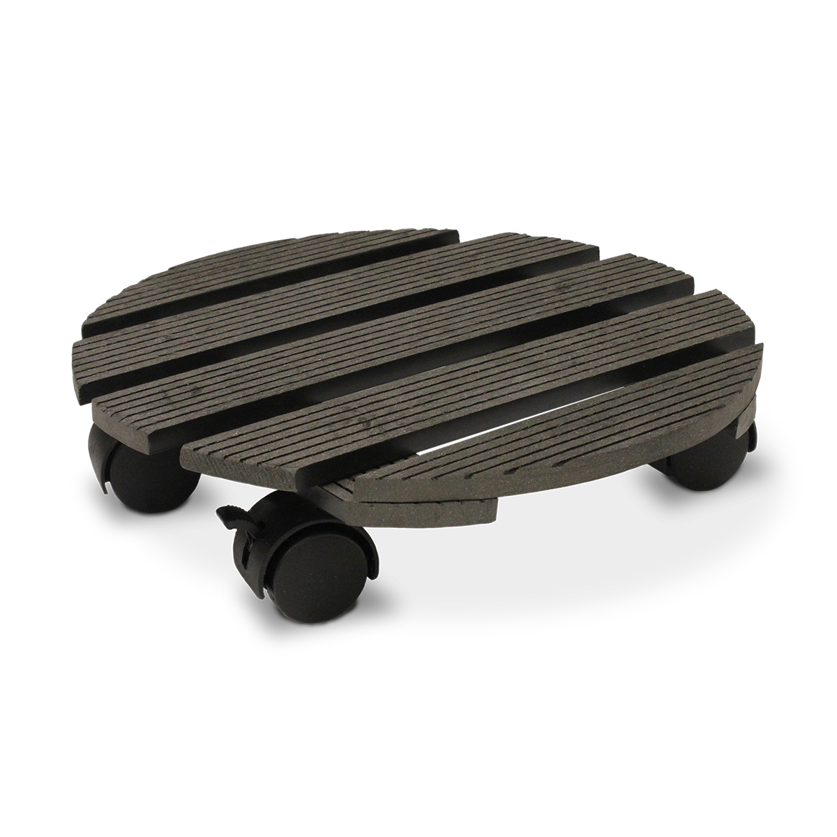18530 Wood-Poly Pot Trolley Round Charcoal