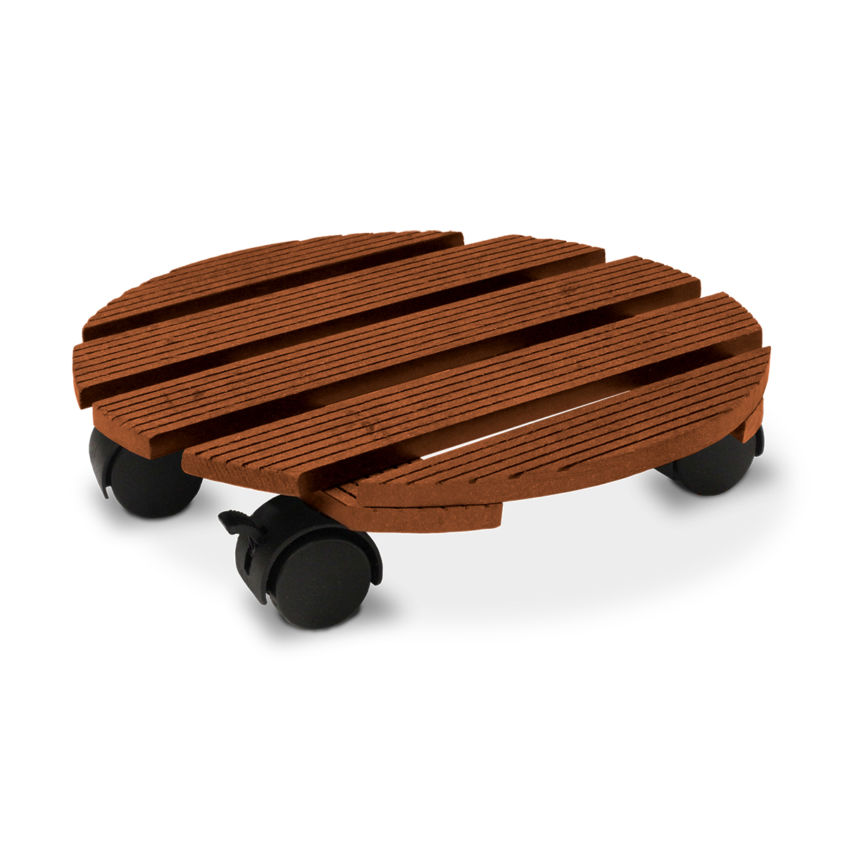 18531 Wood-Poly Pot Trolley Round Merbau