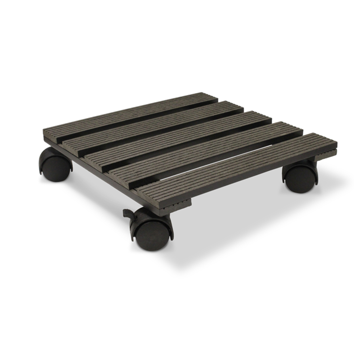 18535 Wood Poly Pot Trolley Square Charcoal 29cm