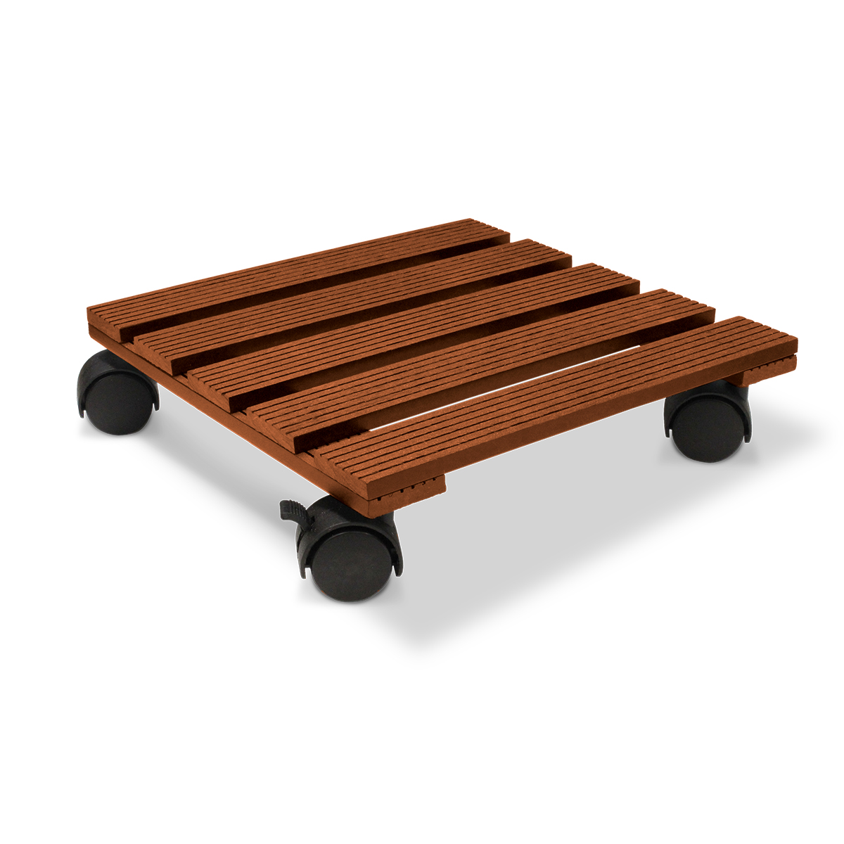18536 Wood Poly Pot Trolley Square Merbau 29cm