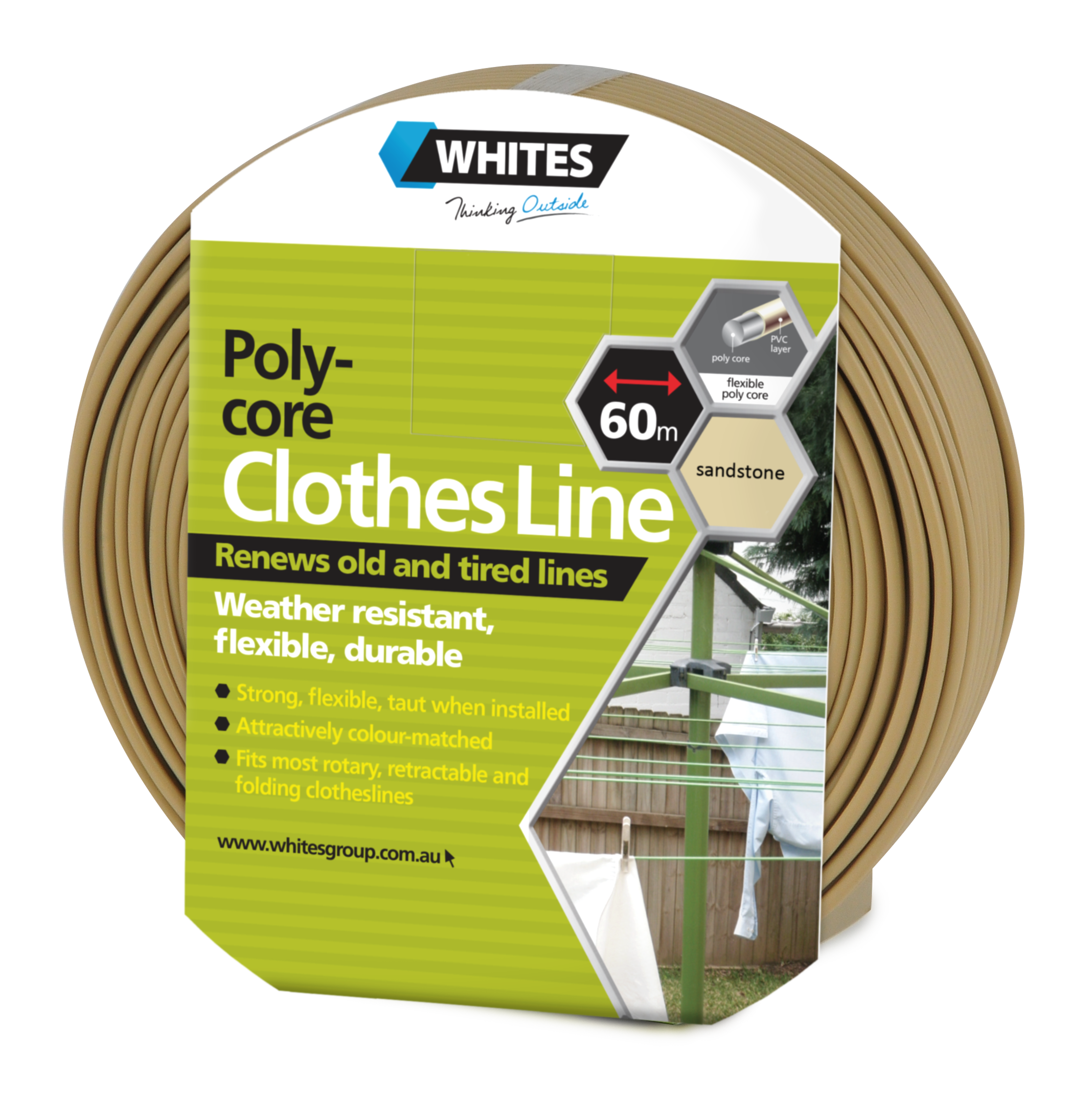 23522 Poly Core Clothesline Sandstone Beige 60m