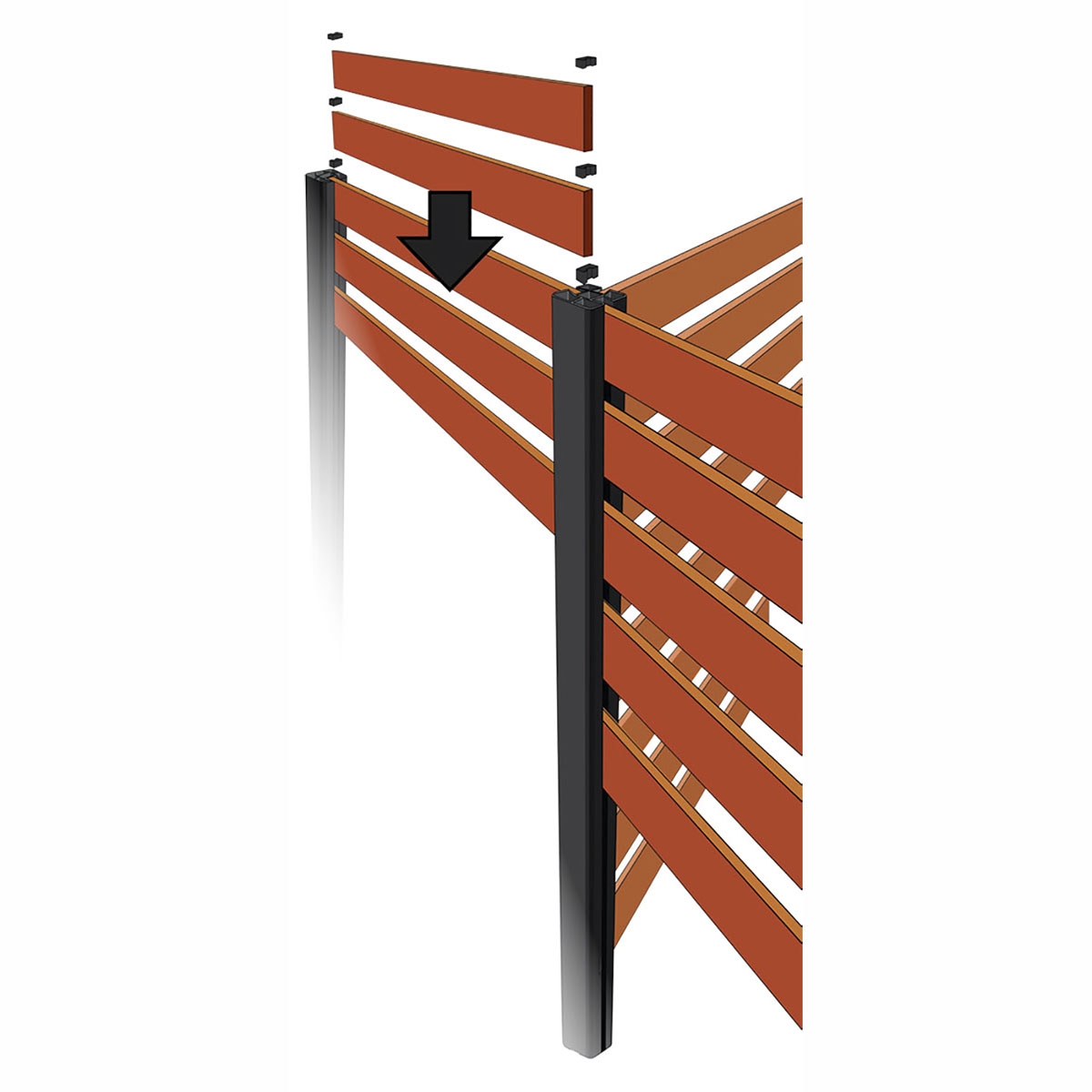 Screen Up 3 way corner post illustration