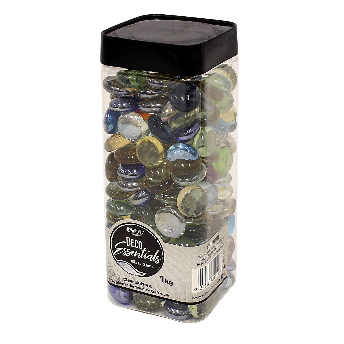 31112 - Clear Button Rock Jar 1kg