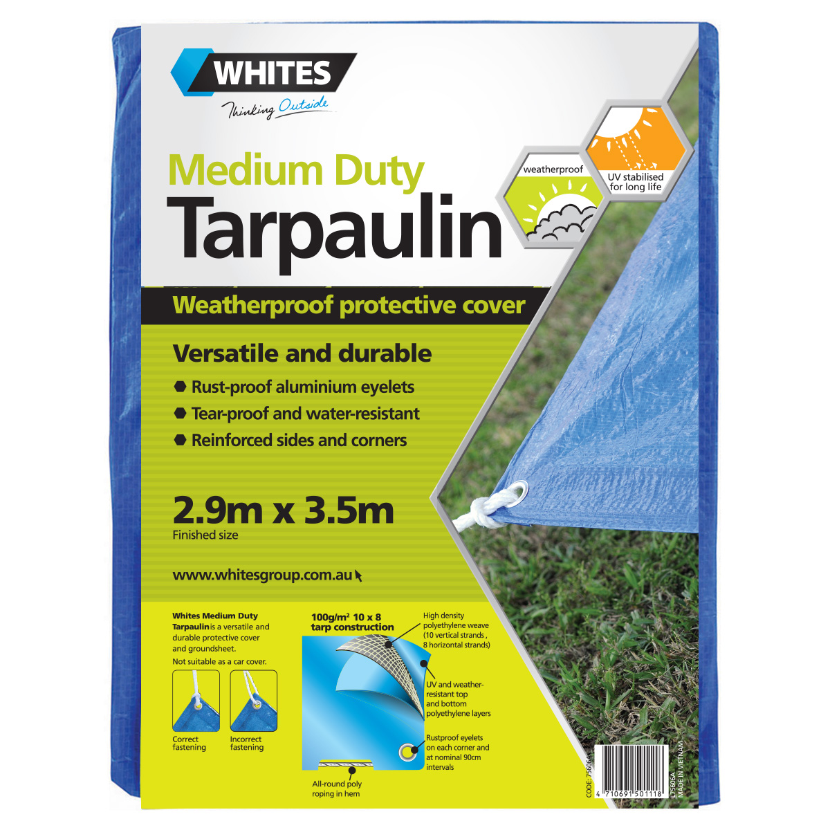 75606 -Medium Duty Tarp 2.9m x 3.5m