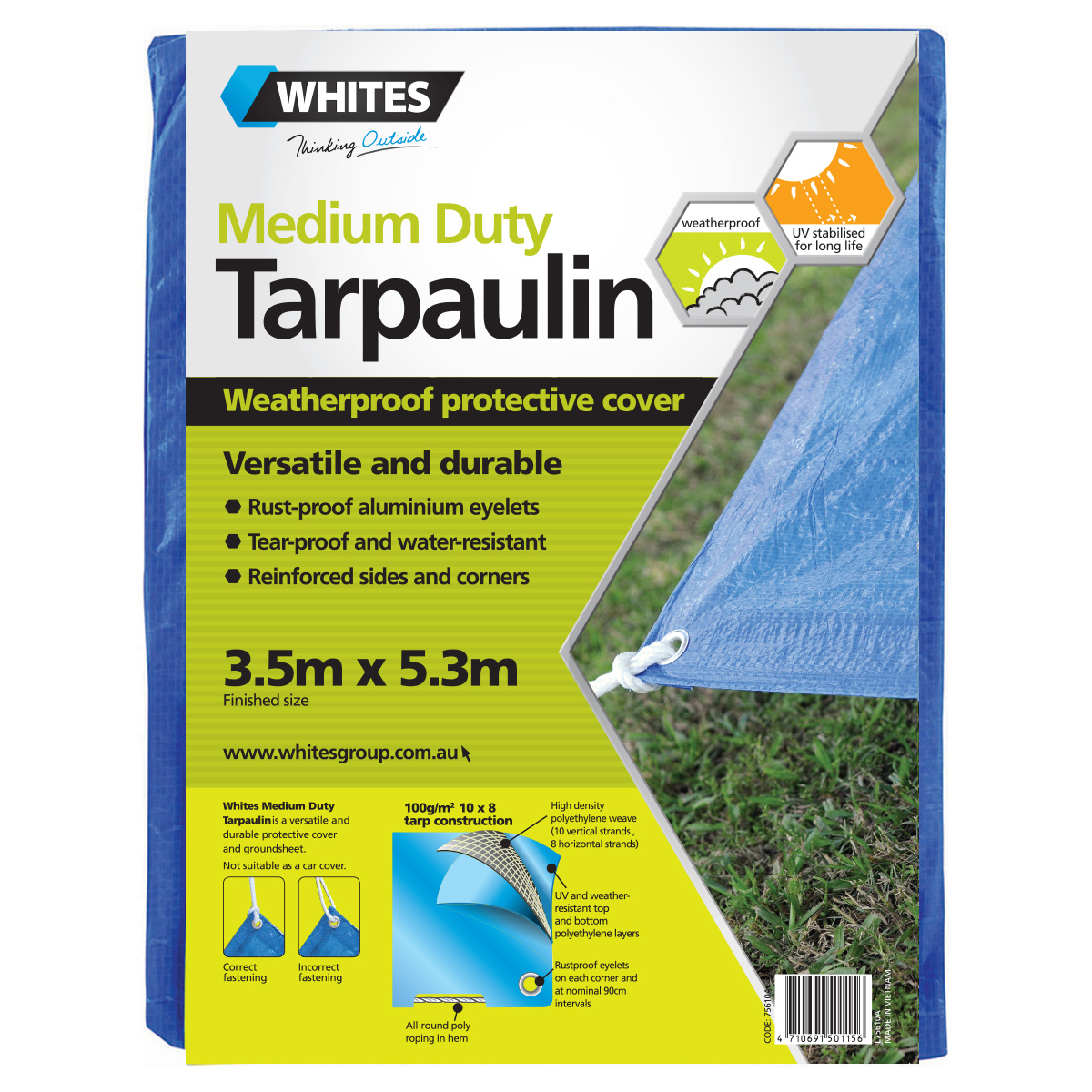 75610 -Medium Duty Tarp 3.5m x 5.3m