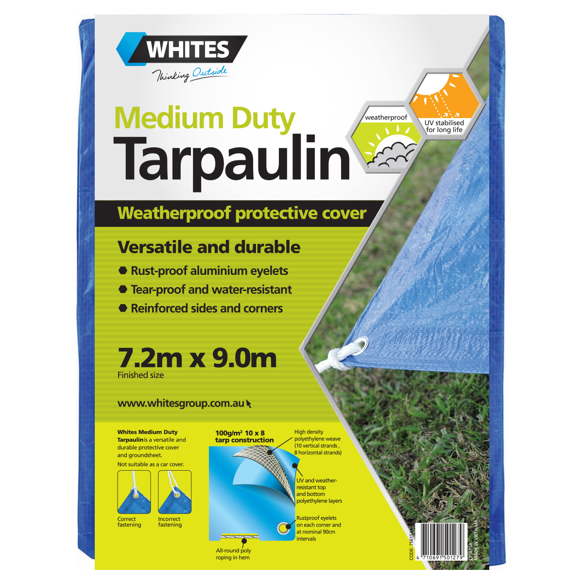 75615 -Medium Duty Tarp 7.2m x 9.0m