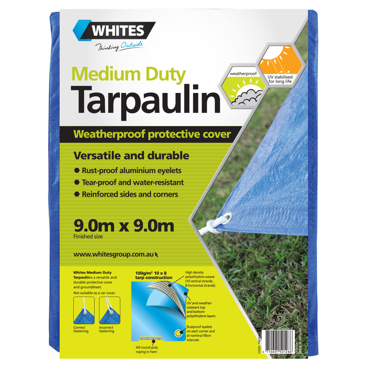 75616 -Medium Duty Tarp 9.0m x 9.0m