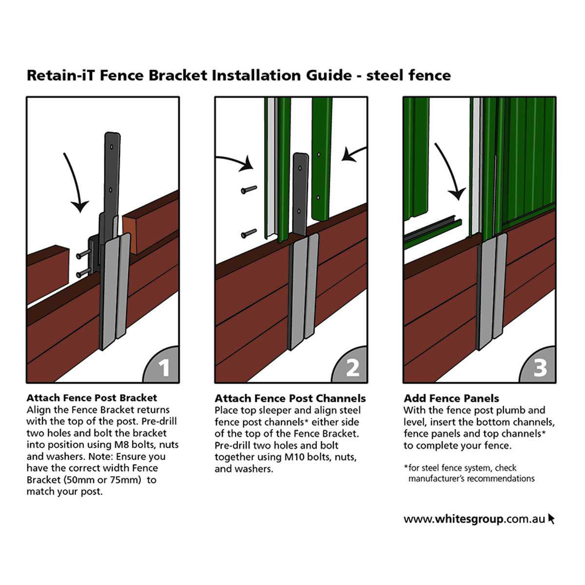Retain iT fence bracket instructions for steel fence