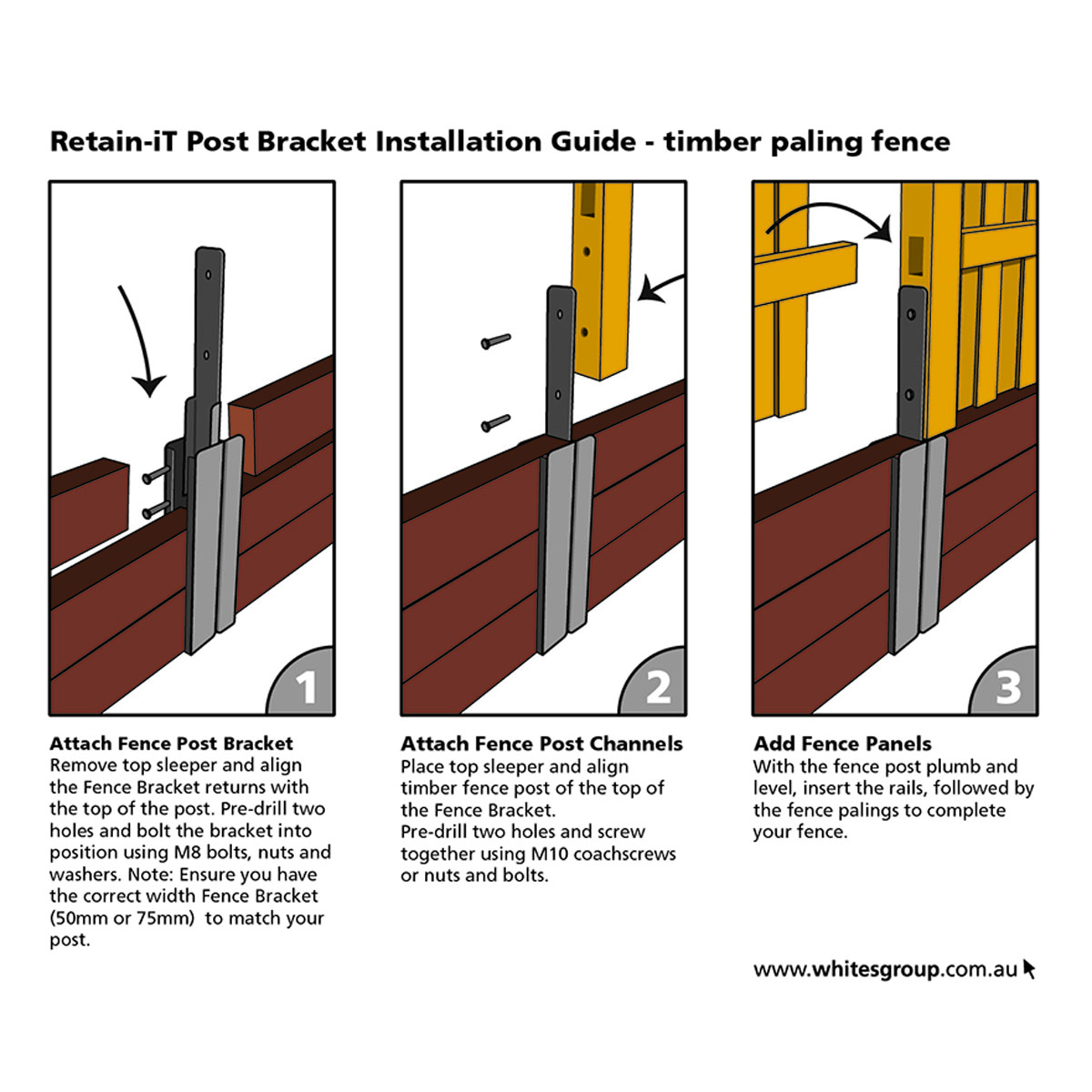 Retain iT fence bracket instructions for timber paling fence