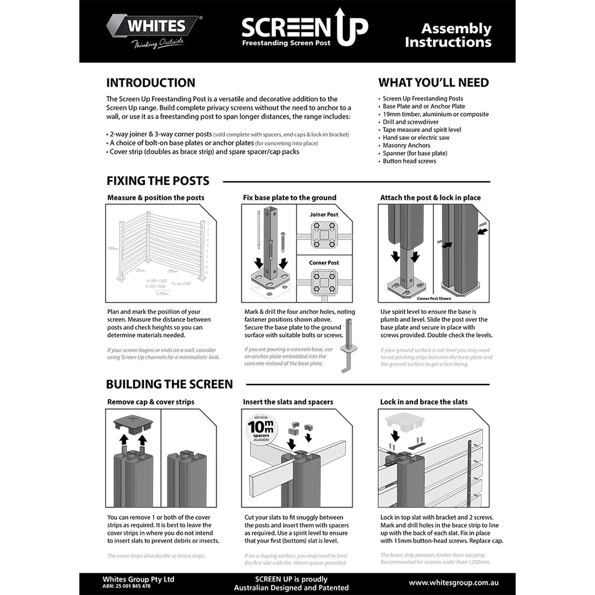 Screen up Freestanding instructions